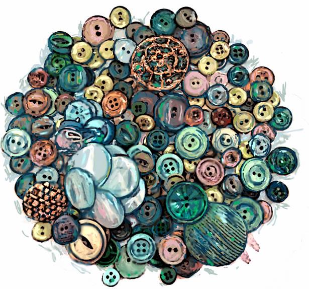 Vickey's Buttons - Aqua